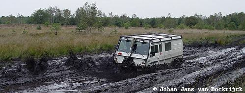 Trial vehicle of Johan Jans van Bockrijck in the mud
